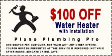 $100 Off Plano Water Heater Coupon